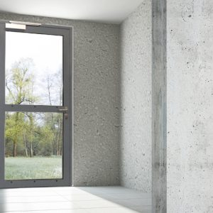 Empty room with grey wall and a window