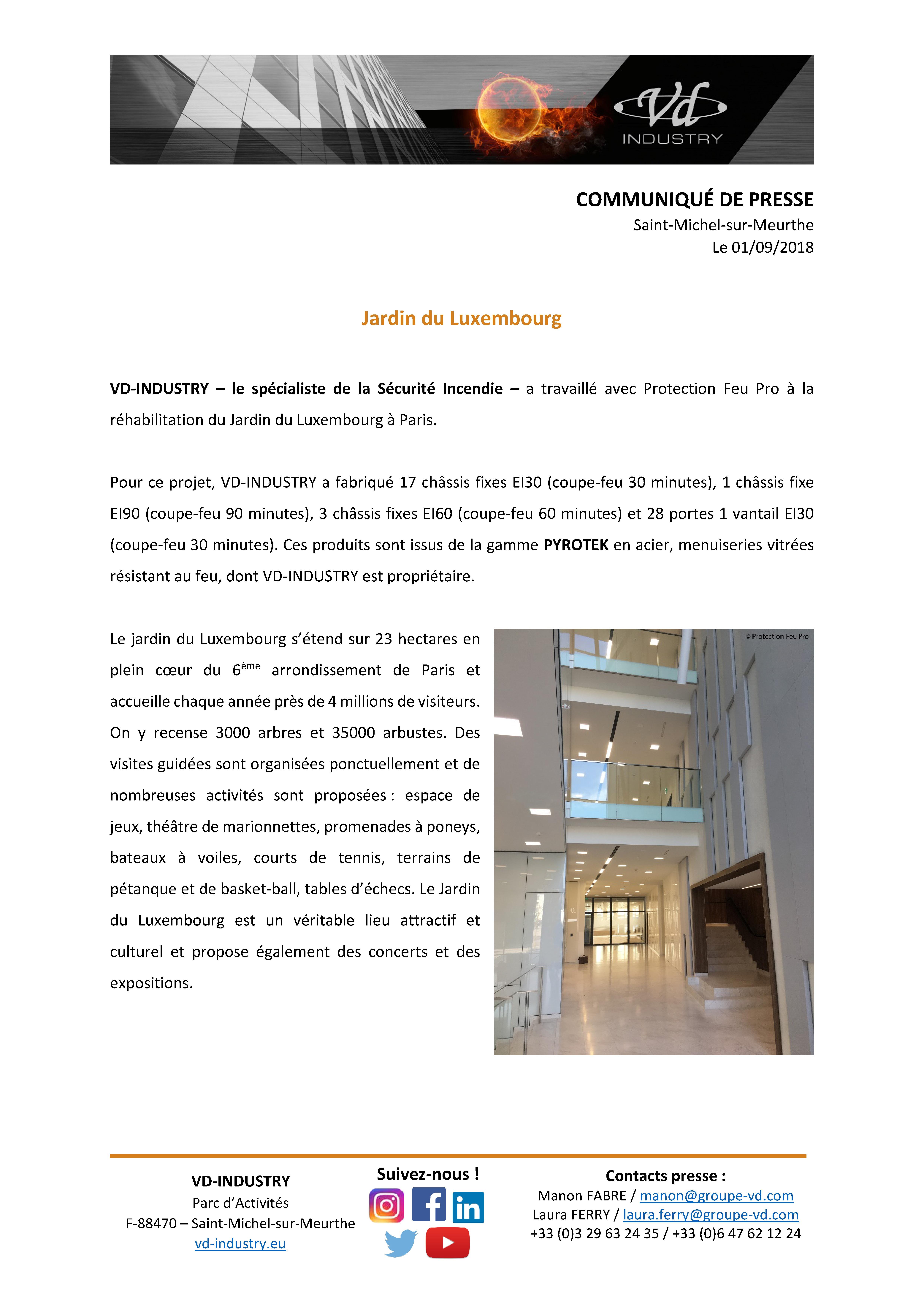 Communiqué de presse - jardin du luxembourg Paris - septembre 2018