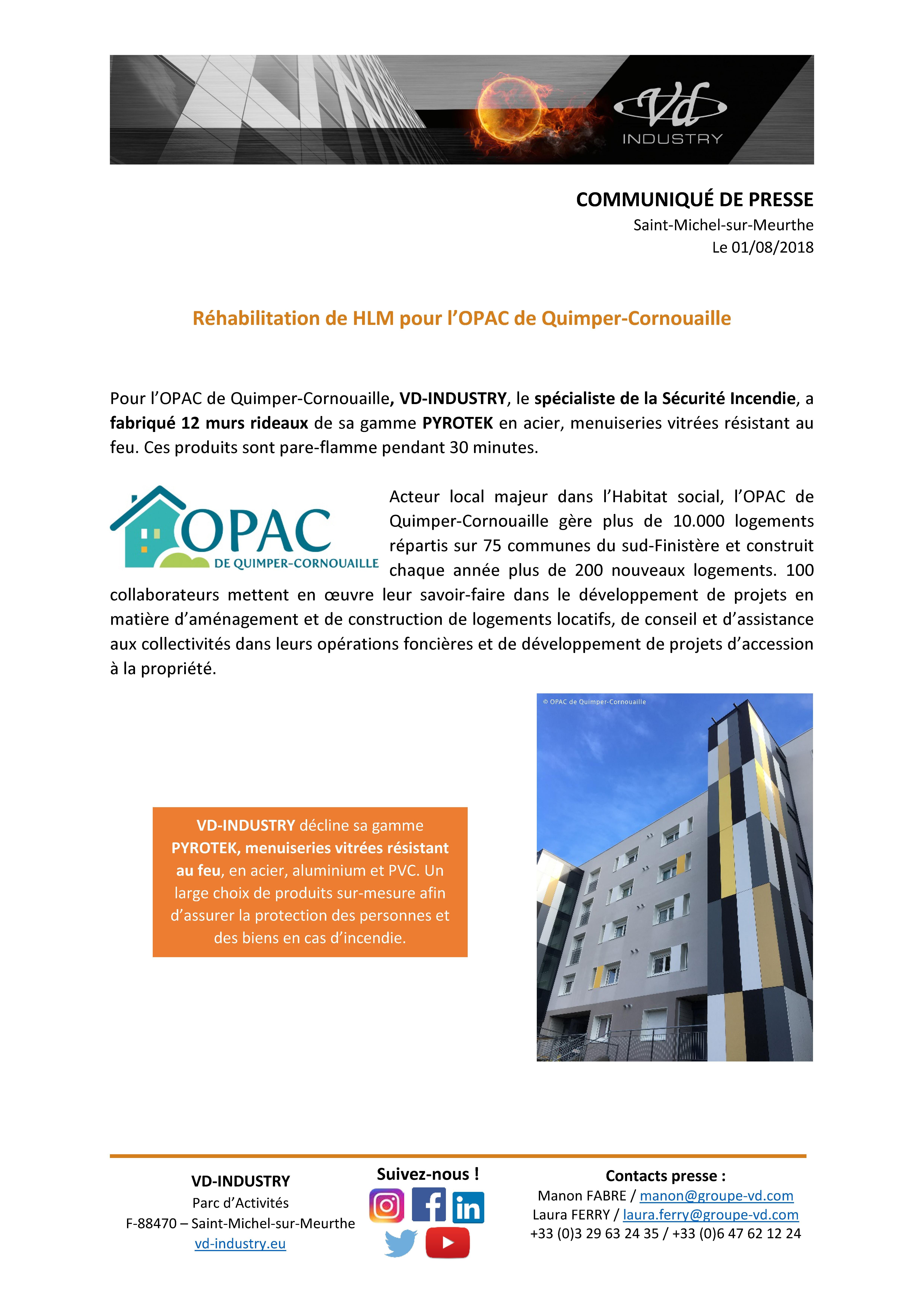 Communiqué de presse - HLM pour l'OPAC Quimper