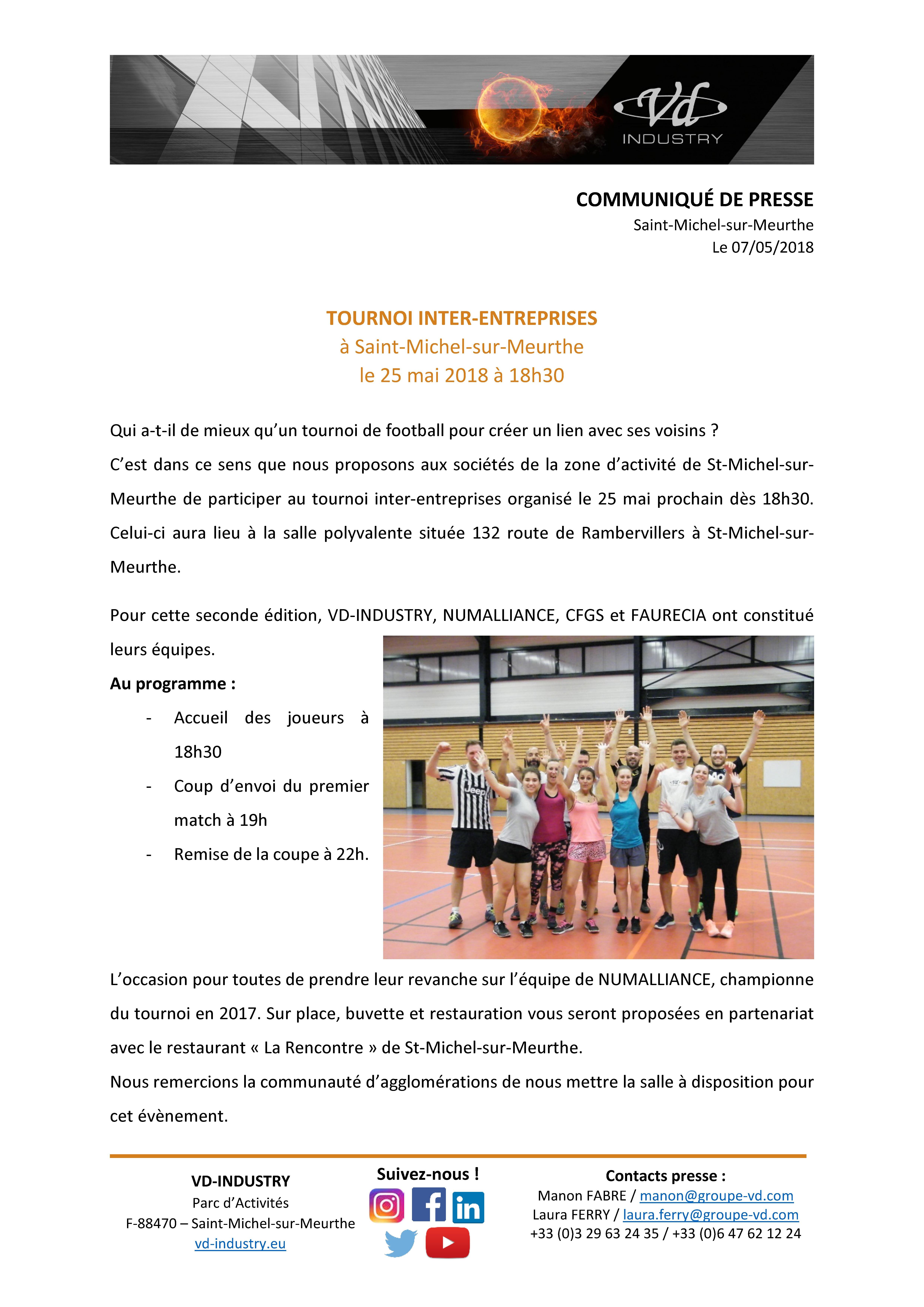 CP - tournoi inter-entreprises à Saint-Michel - mai 2018