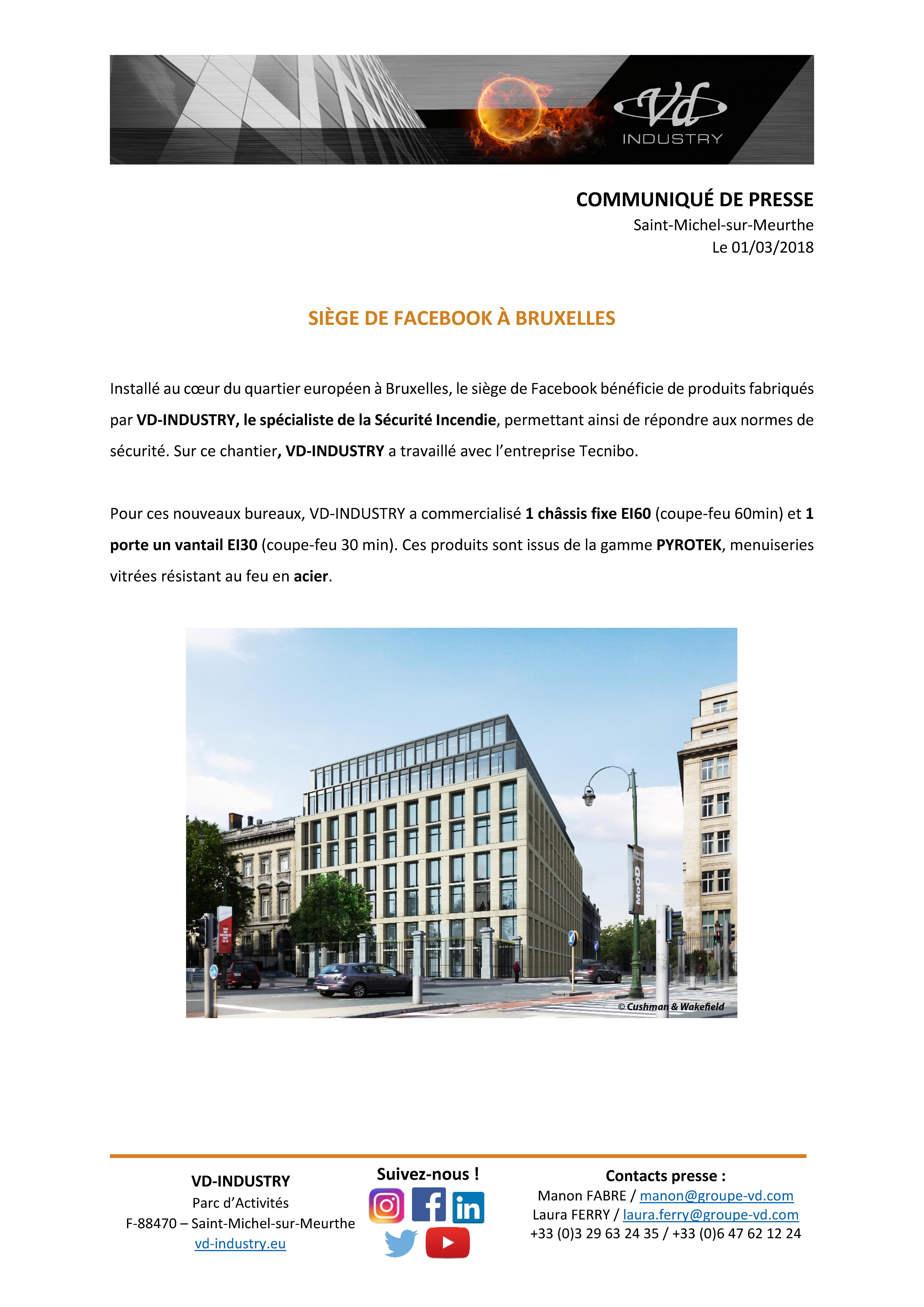 CP siège de Facebook à Bruxelles