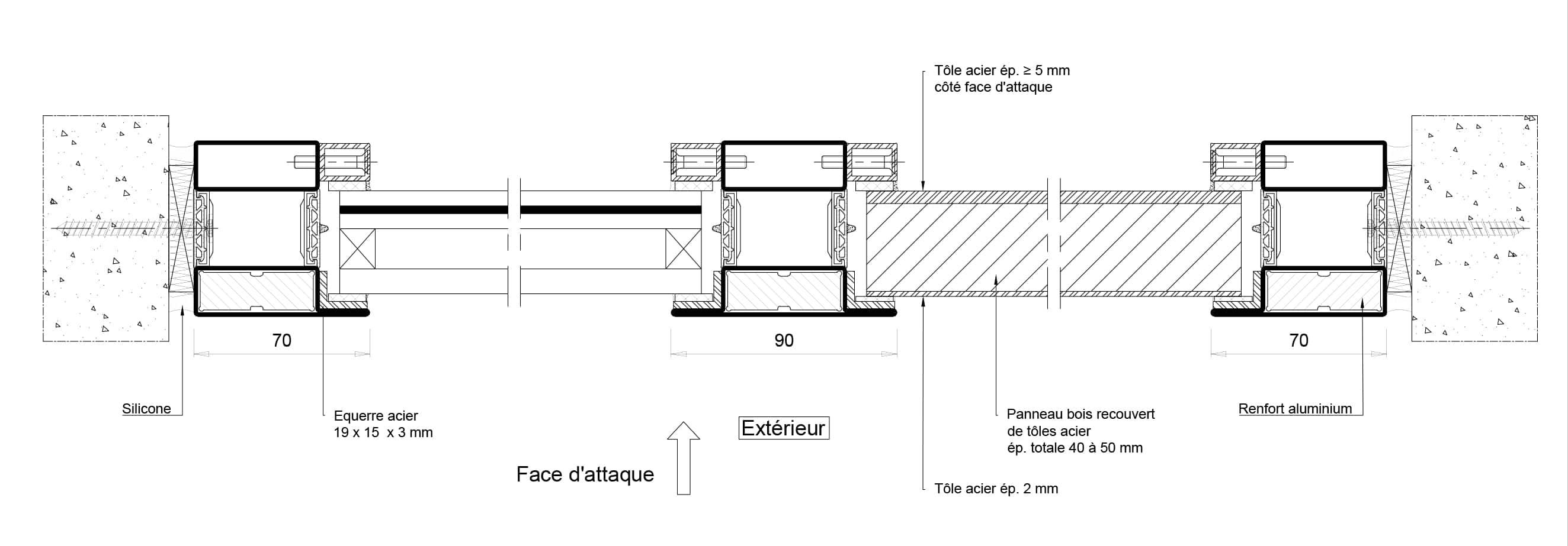 cloison vitrée anti-effraction CR4