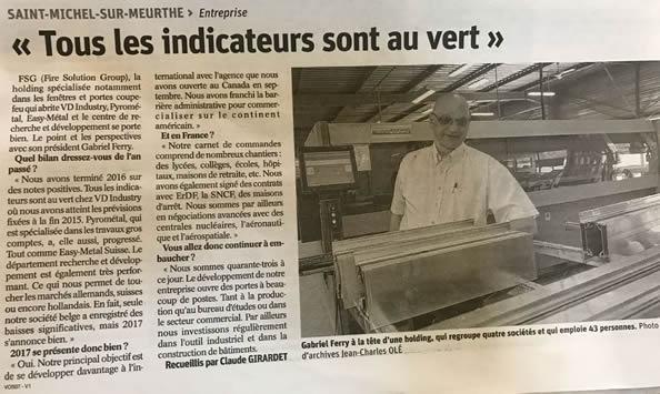 Vosges Matin - Février 2017 - les indicateurs au vert
